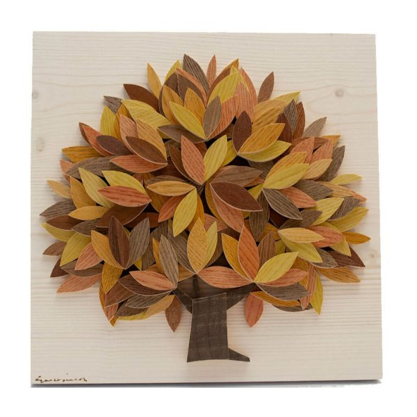 Albero della vita in legno - Sfumature giallo