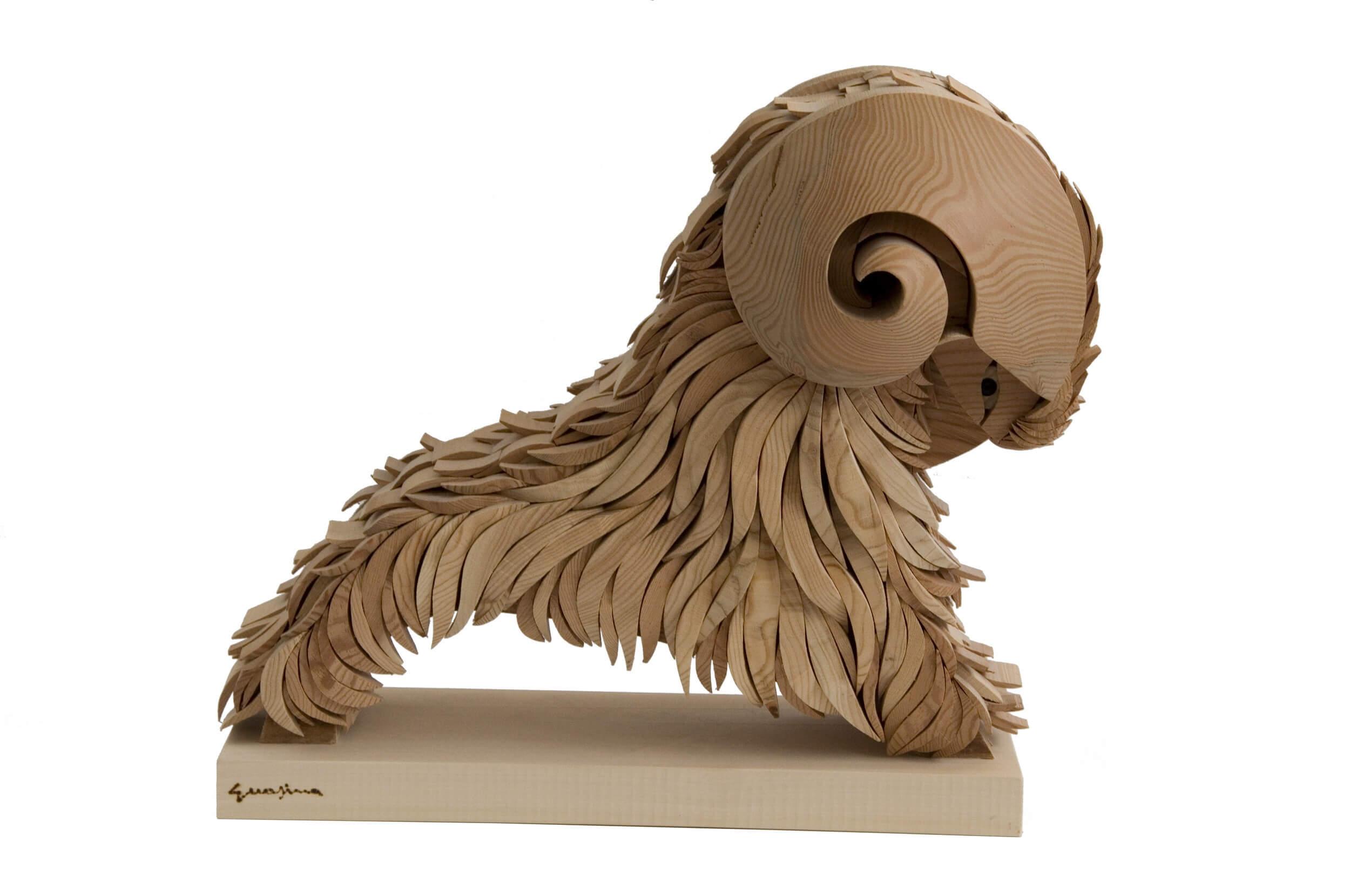 Scultura in legno Ariete - Dimensione media 50 x 30 x 45  cm (b x p x h)