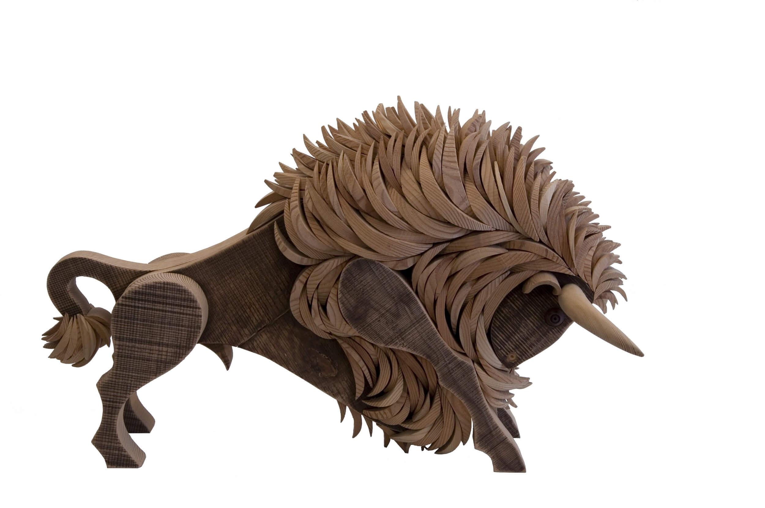 Scultura in legno Bisonte - Dimensione media 60 x 35 x 45  cm (b x p x h)