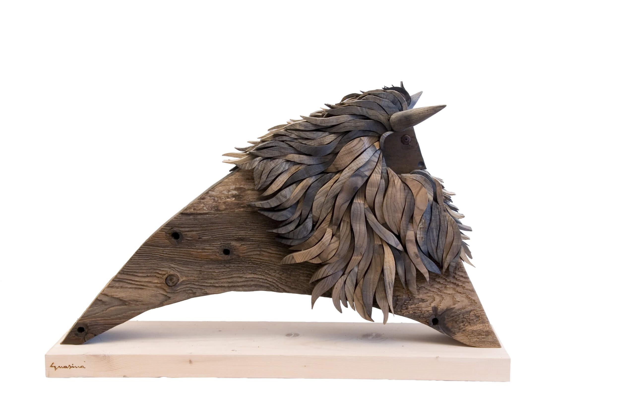 Scultura in legno Bisonte Nero - Dimensione media 75 x 30 x 50  cm (b x p x h)