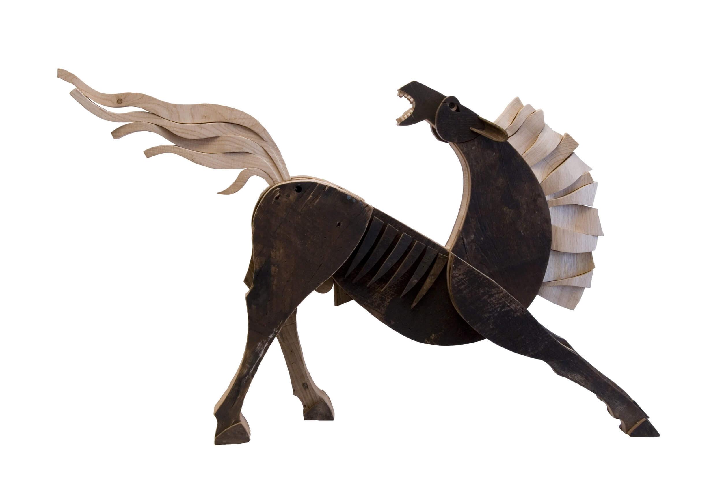 Scultura in legno Cavallo Nero - Dimensione media 92 x 20 x 60  cm (b x p x h)