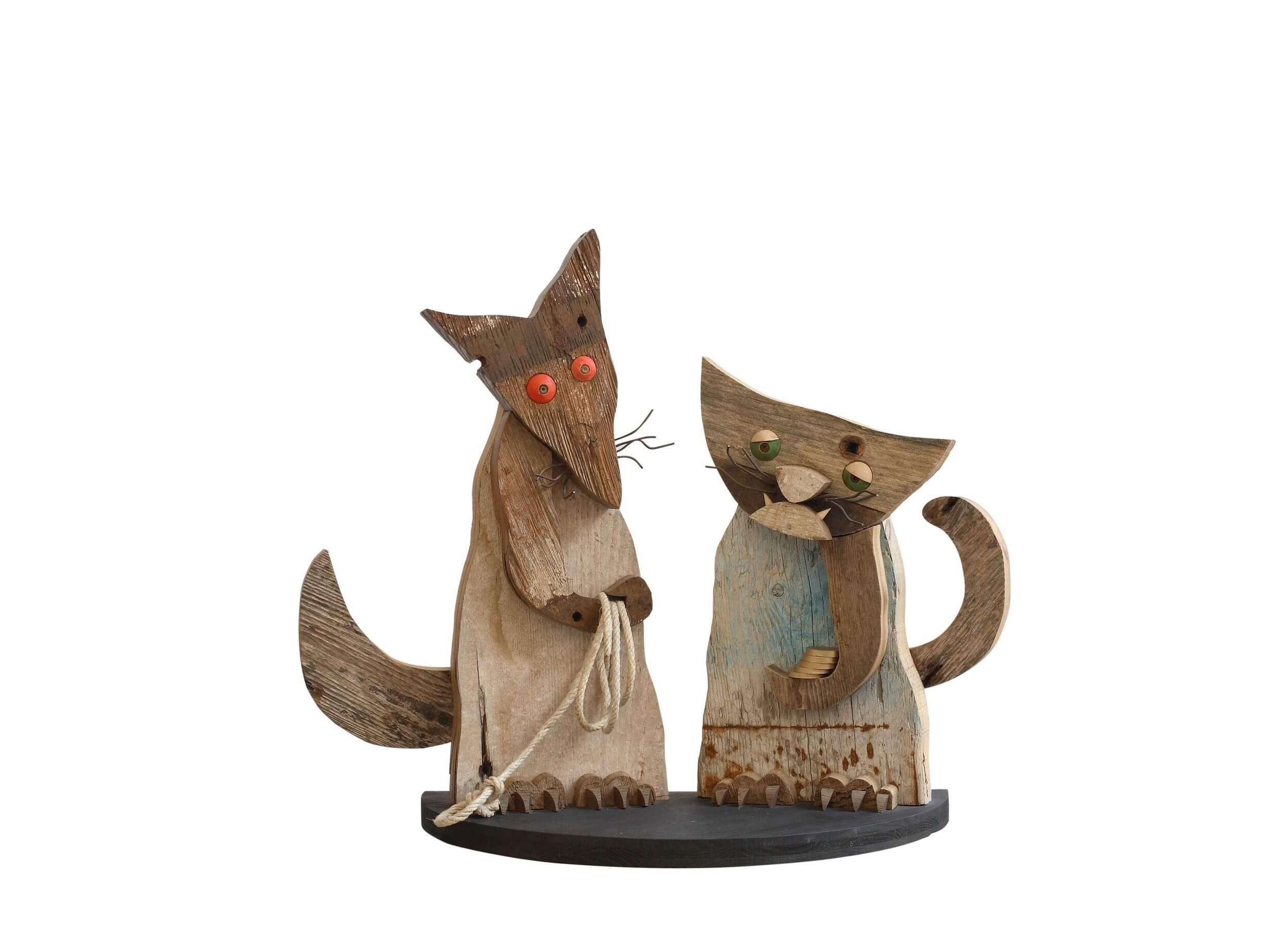 Scultura in legno Il Gatto e la Volpe - Dimensione media 70 x 28 x 61  cm (b x p x h)