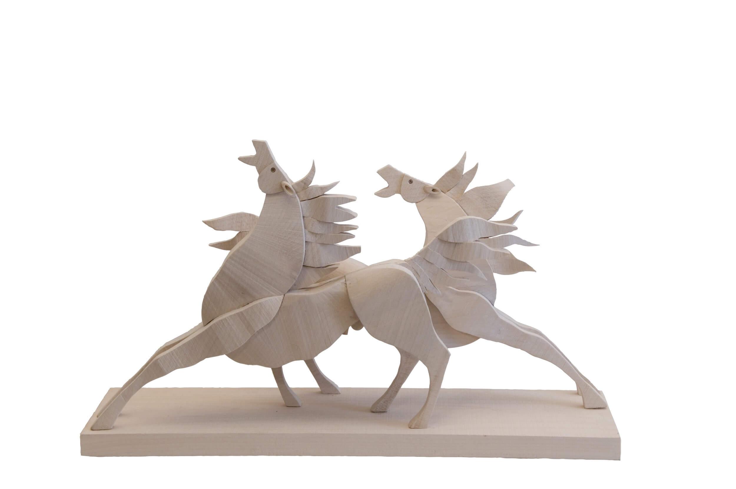 Scultura Guasina in legno - Soggetto Cavalli - Dimensione indicativa: 25 x 8 x 35 cm