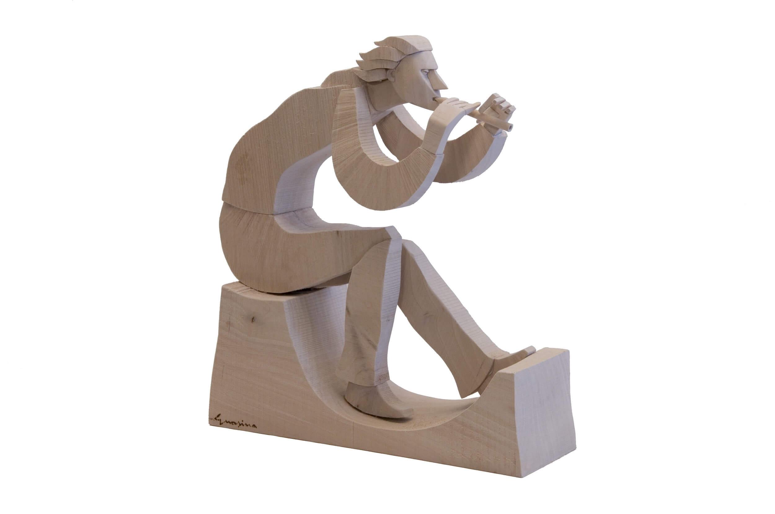 Scultura Guasina in legno - Soggetto: Il flauto magico
