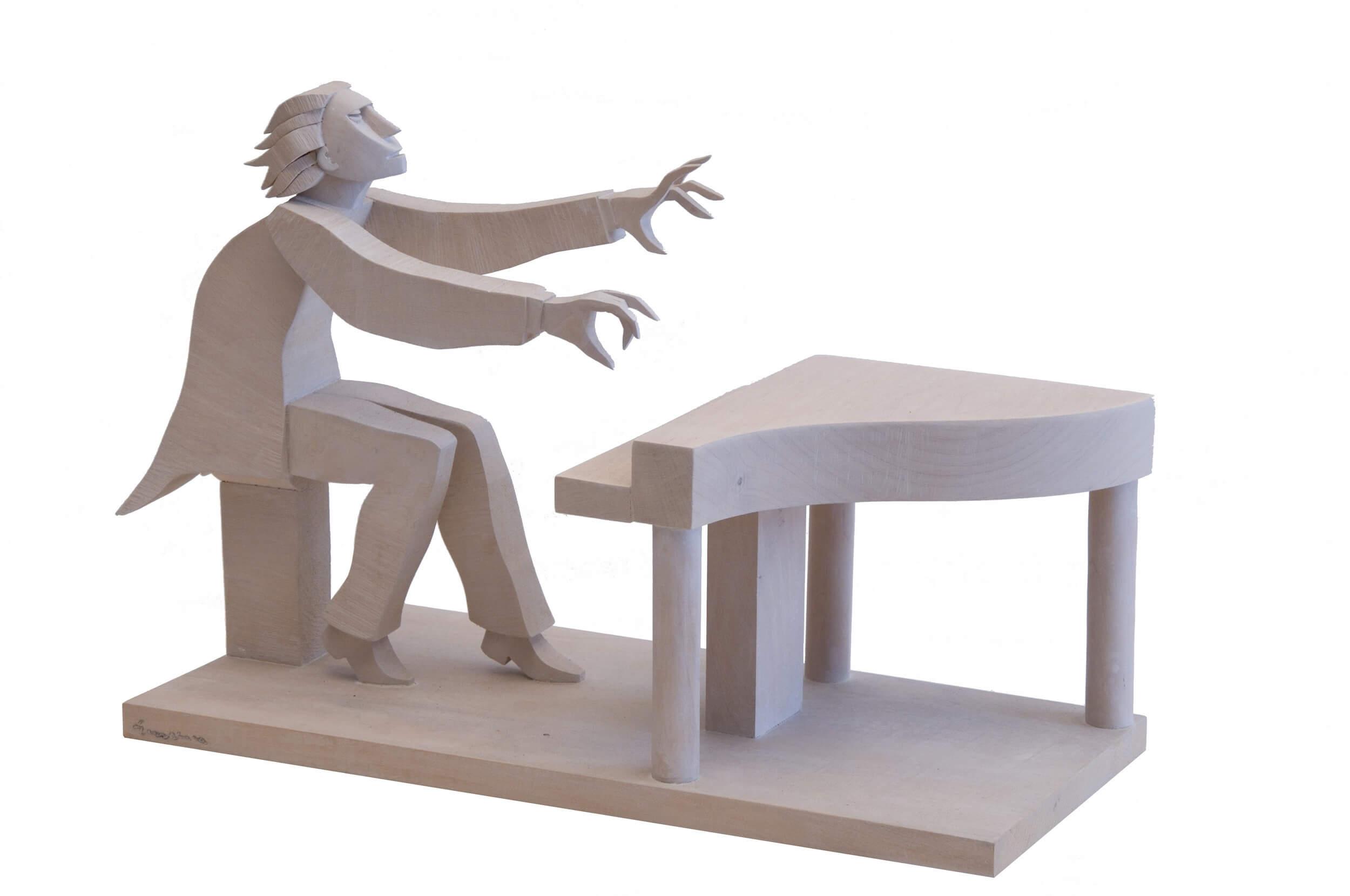 Scultura in legno - Soggetto: Il pianista