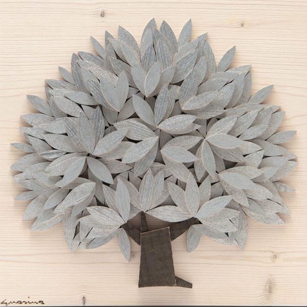 Quadro Albero della vita in legno - Argento - Frontale
