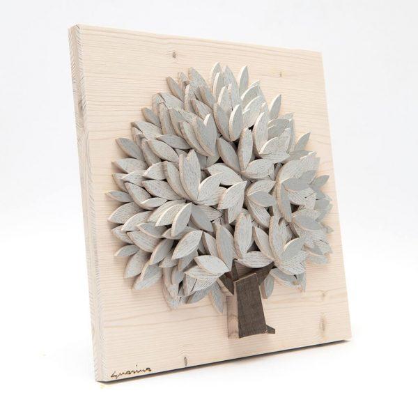 Quadro Albero della vita in legno - Argento - Laterale