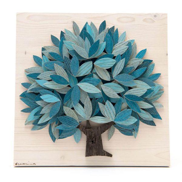 Quadro Albero della vita in legno - Azzurro