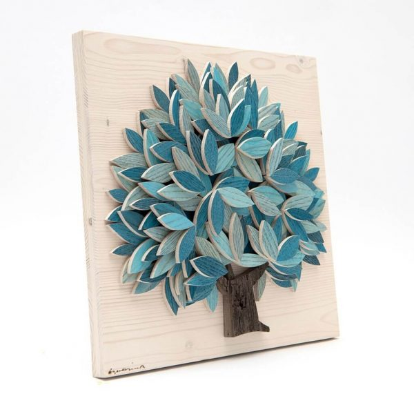 Quadro Albero della vita in legno - Azzurro - Lato
