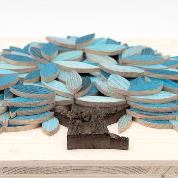Quadro Albero della vita in legno - Azzurro - Dal basso
