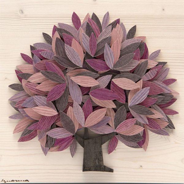 Quadro Albero della vita in legno - Sfumature rosa - frontale
