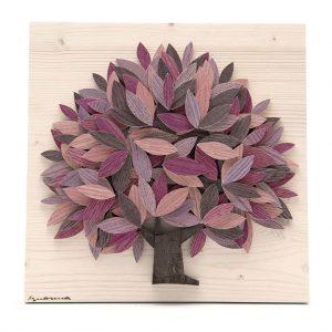 Quadro Albero della vita in legno - Sfumature rosa