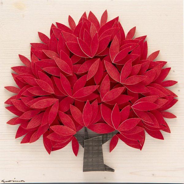 Quadro Albero della vita in legno - Rosso - Frontale