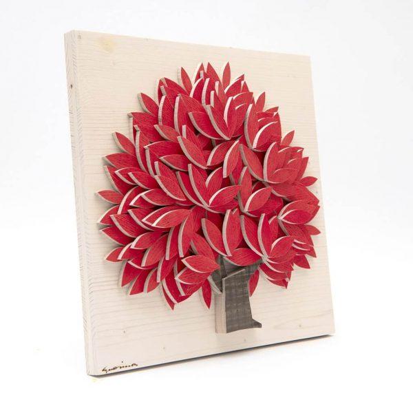 Quadro Albero della vita in legno - Rosso - Laterale