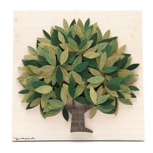 Quadro Albero della vita in legno - Sfumature verdi