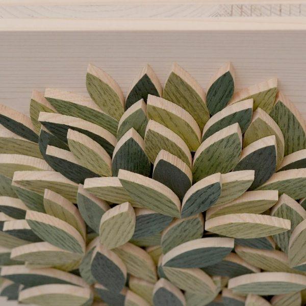 Quadro Albero della vita in legno - Sfumature verdi - Particolare dall'alto