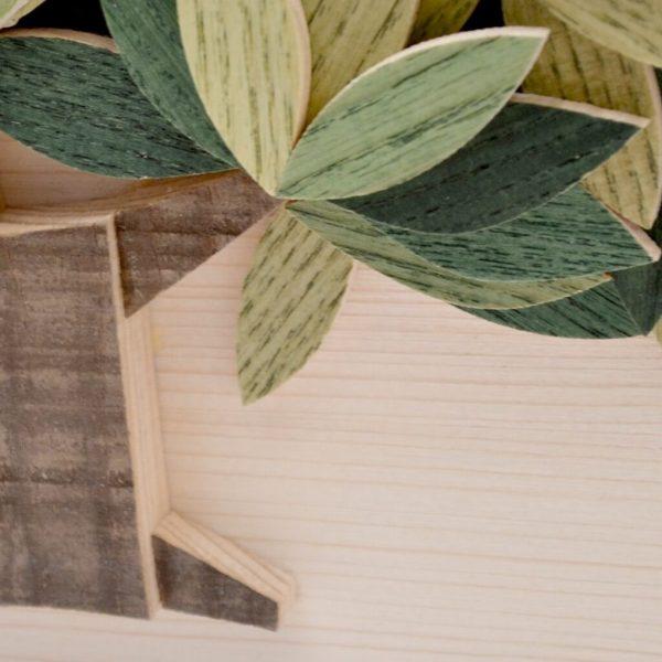 Quadro Albero della vita in legno - Sfumature verdi - Particolare tronco