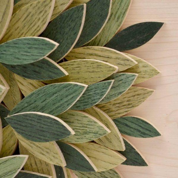 Quadro Albero della vita in legno - Sfumature verdi - Particolare foglie
