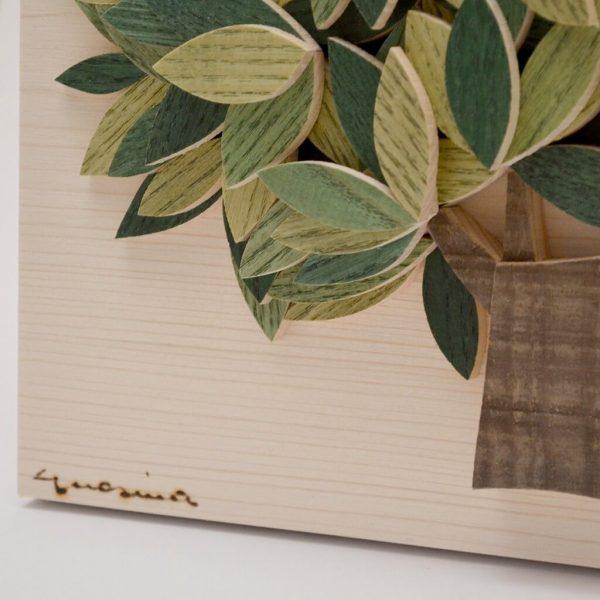 Quadro Albero della vita in legno - Sfumature verdi - Particolare