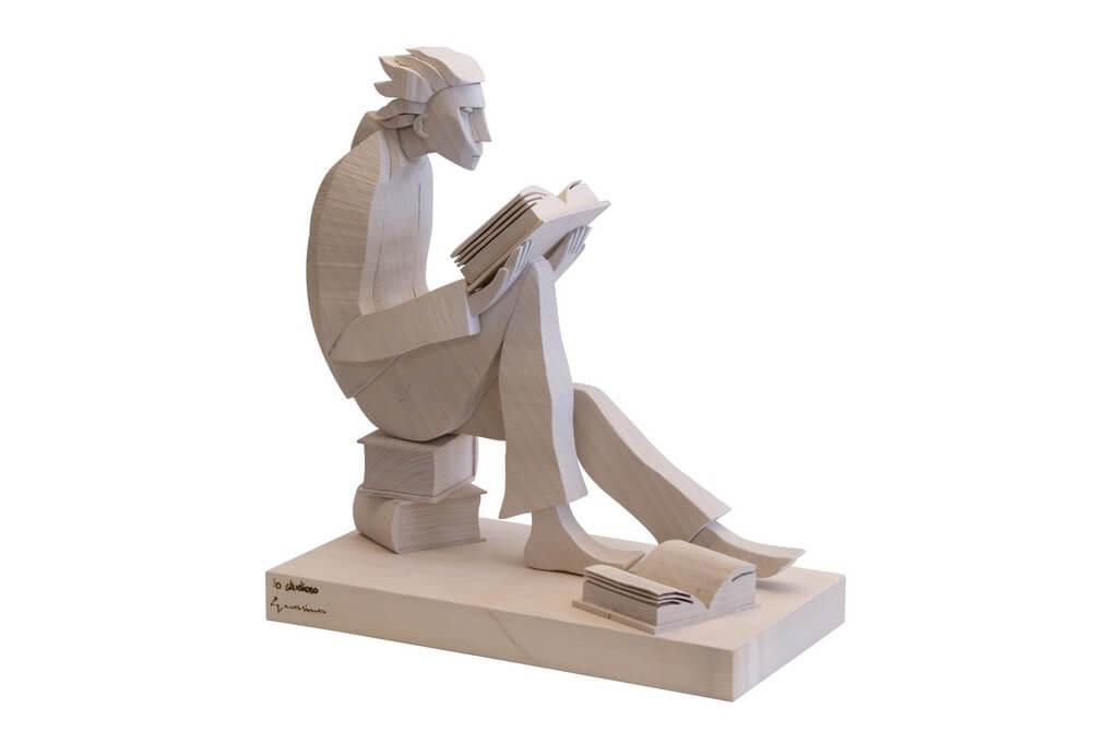 Scultura Guasina in legno - Soggetto: Lo studioso