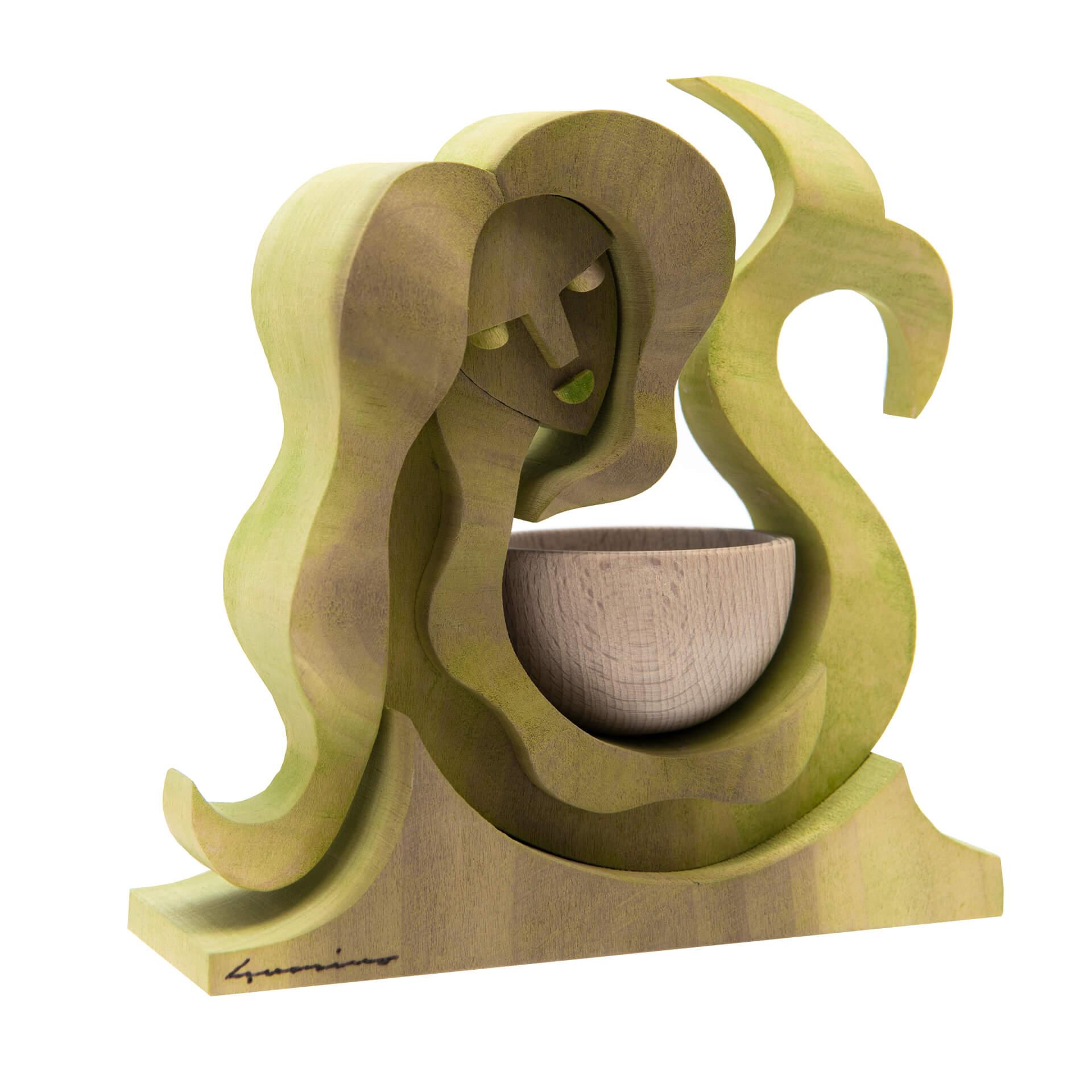 Scultura in legno Acquario - Dimensione media 17x 7 x 17 cm (b x p x h)