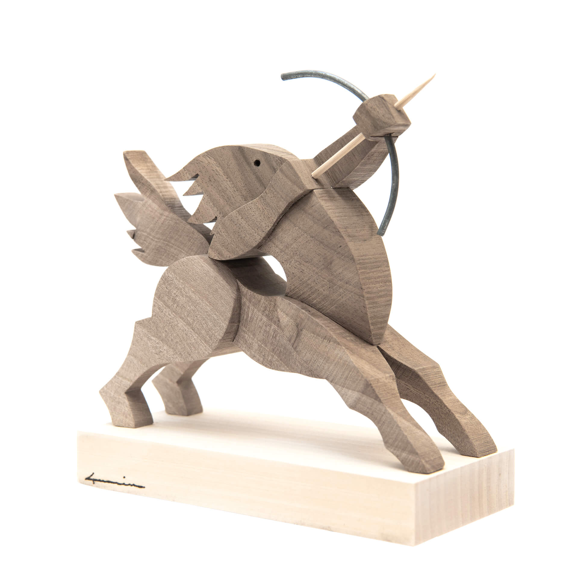 Scultura in legno Sagittario- Dimensione media 18 x 8 x 18 cm (b x p x h)