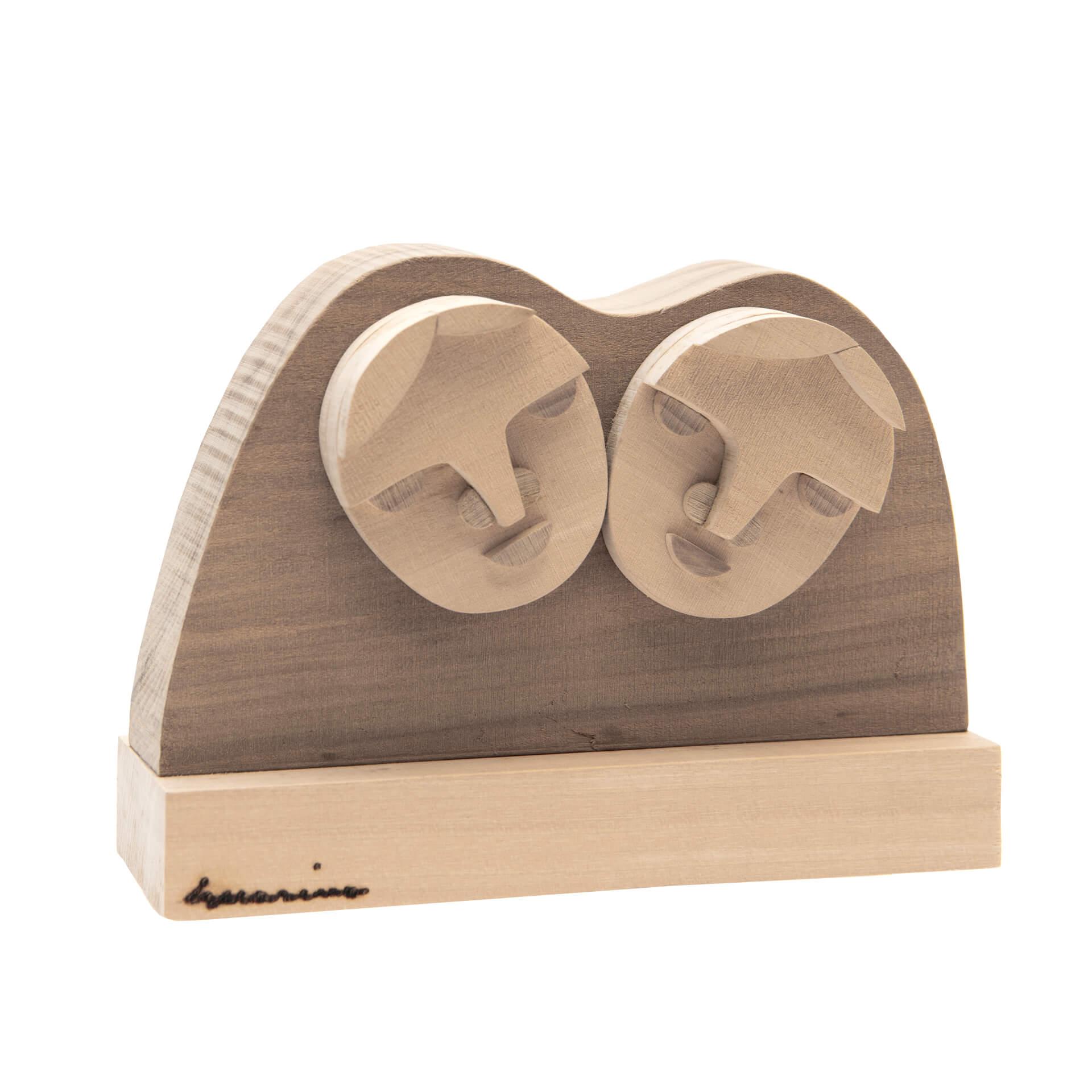 Scultura in legno Gemelli - Dimensione media 17x 6 x 13 cm (b x p x h)