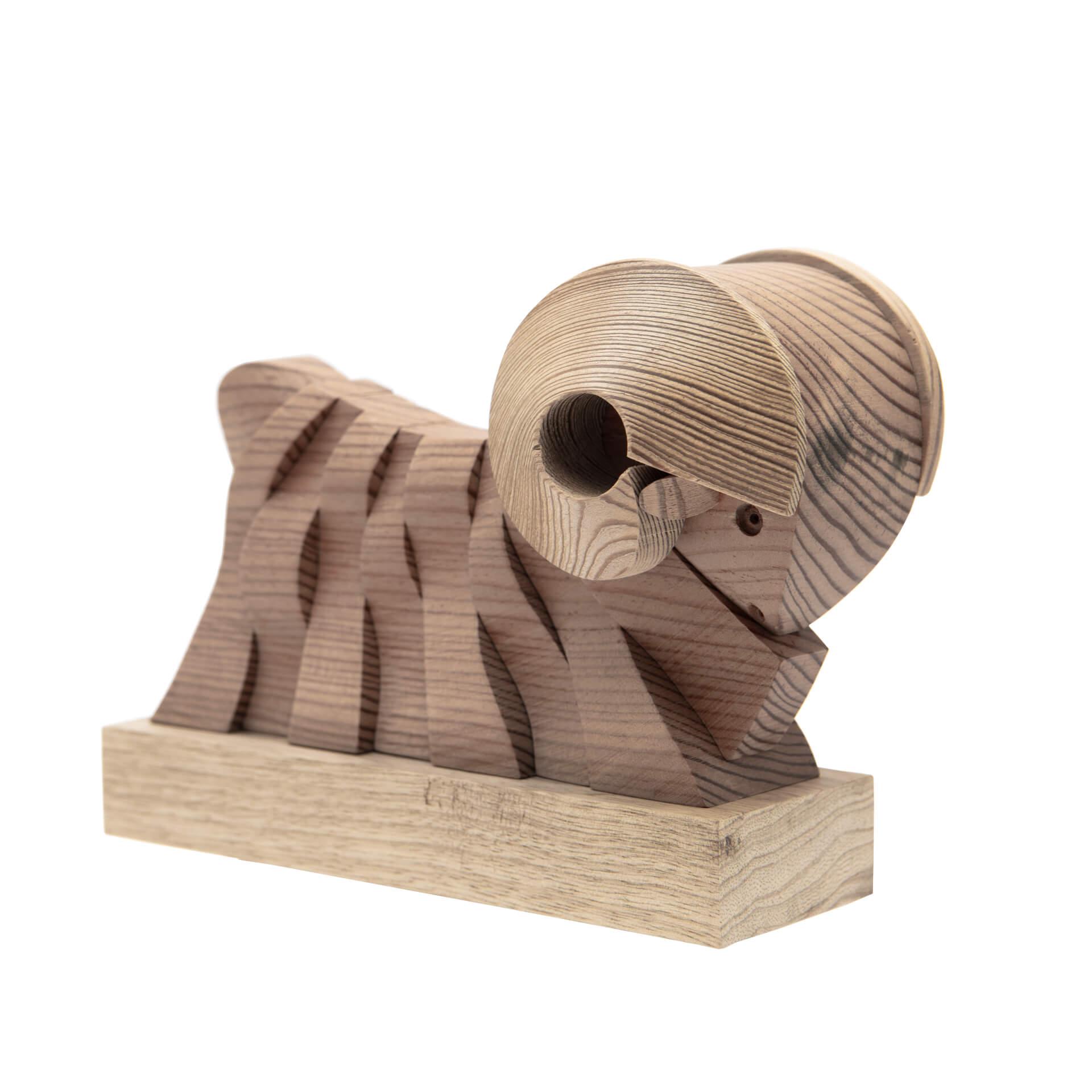 Scultura in legno Ariete - Dimensione media 17 x 10 x 13 cm (b x p x h)