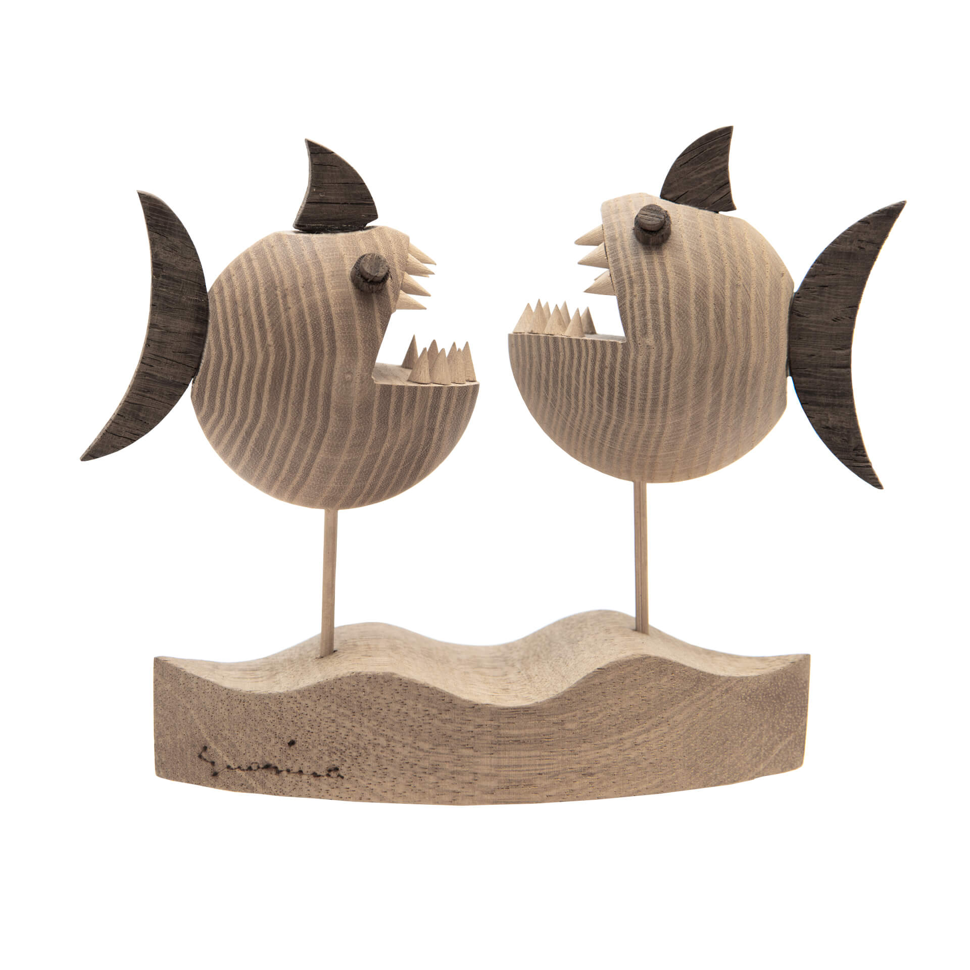 Scultura in legno Pesci - Dimensione media 19x 7 x 16 cm (b x p x h)