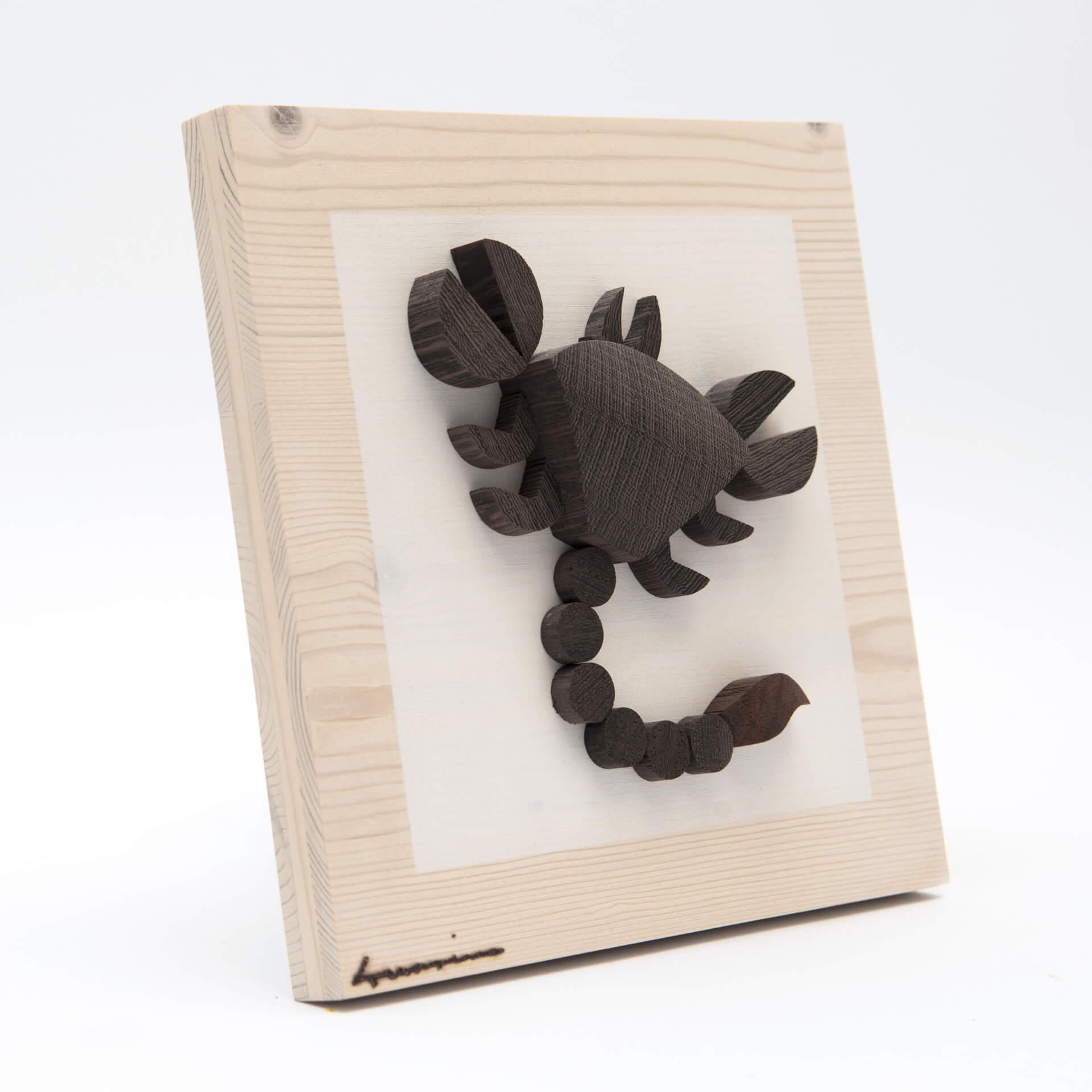 Pannello zodiaco Scorpione - dimensioni cm. 15 x 4,5 x 15