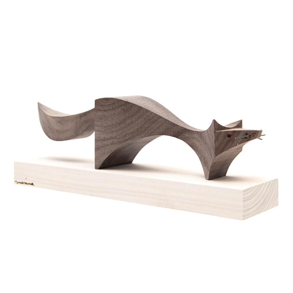 Scultura in legno Volpe - dimensioni cm. 33 x 8 x 12