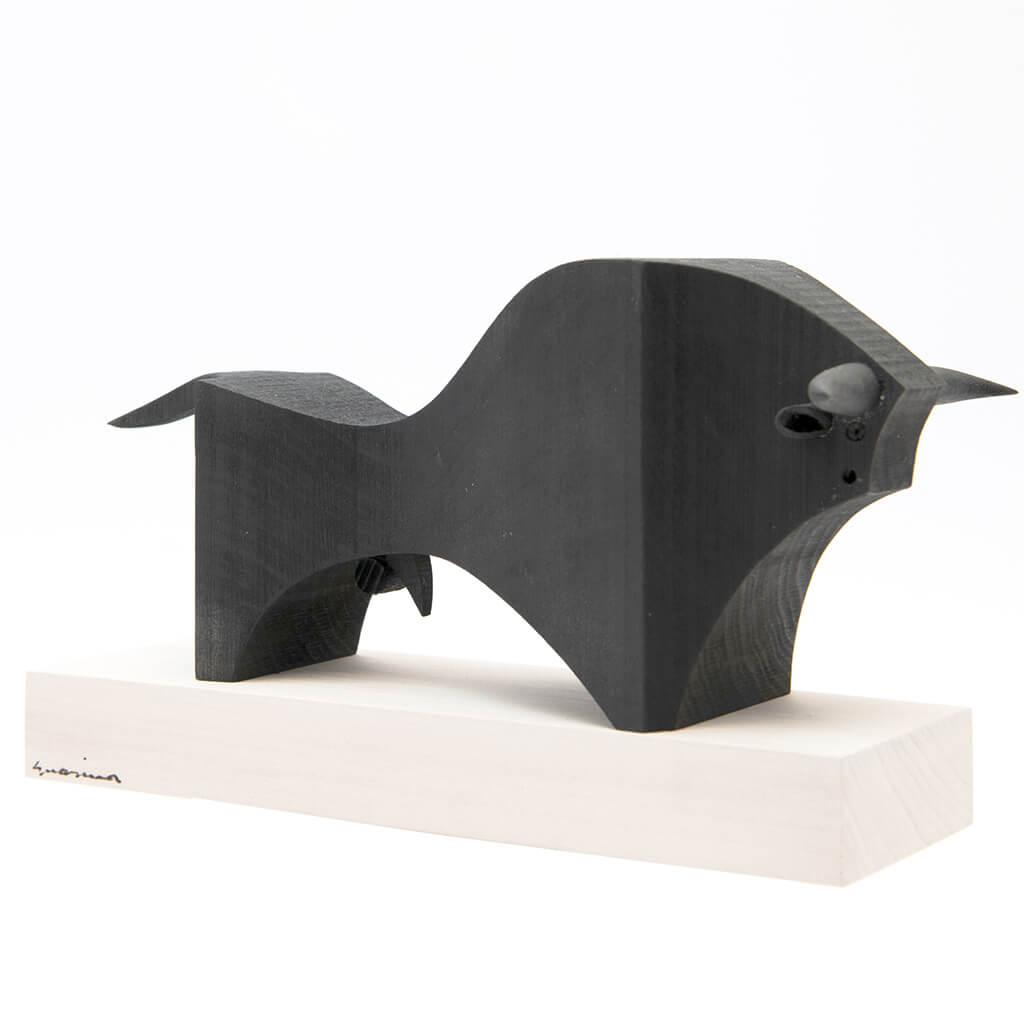 Scultura in legno Toro Nero - dimensioni 25 x 10 x 20