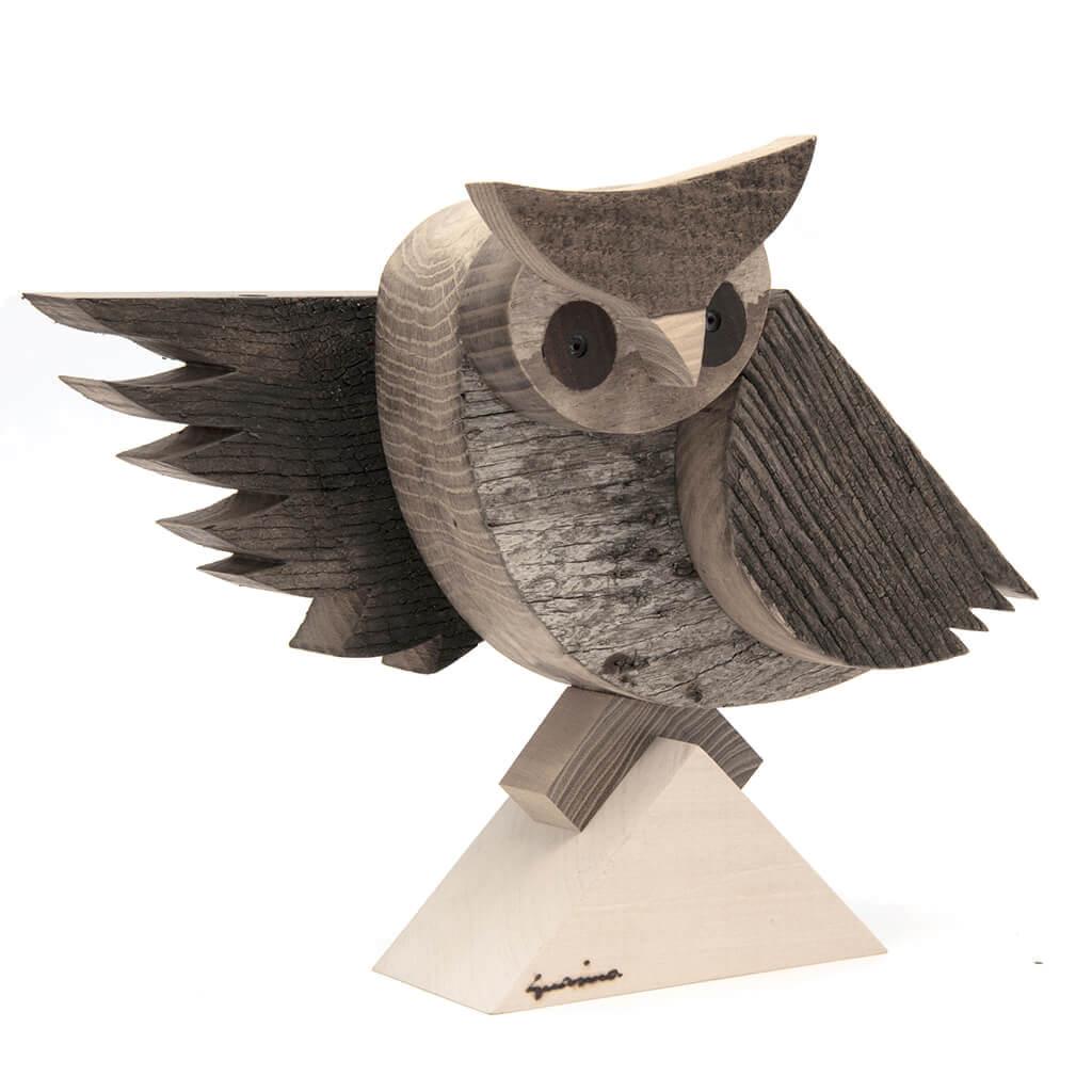 Scultura in legno Gufo Medio - Dimensione media cm. 30 x 13 x 25