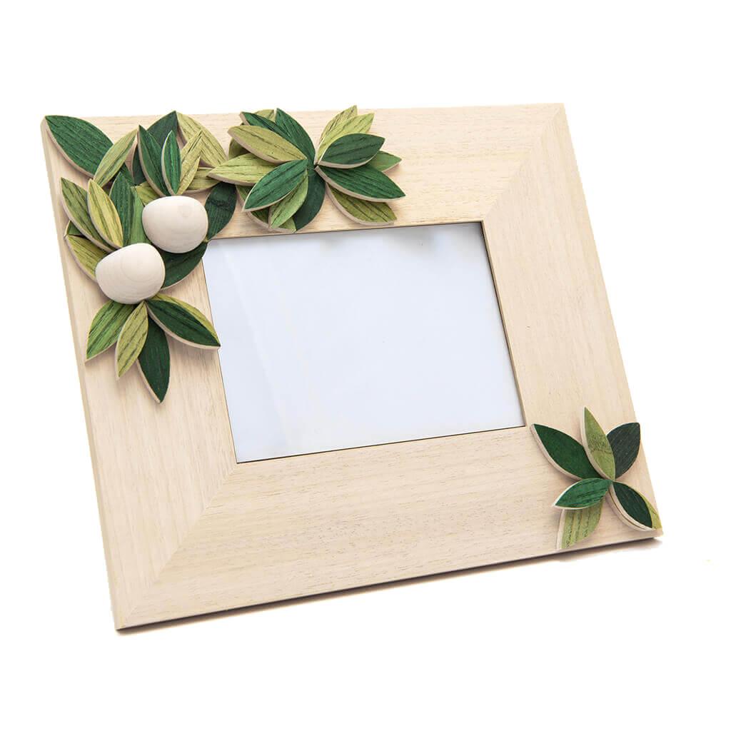 Cornice portafoto in legno realizzata a mano - orizzontale - decorazione estate - dimensioni cm 31 x 4 x 25