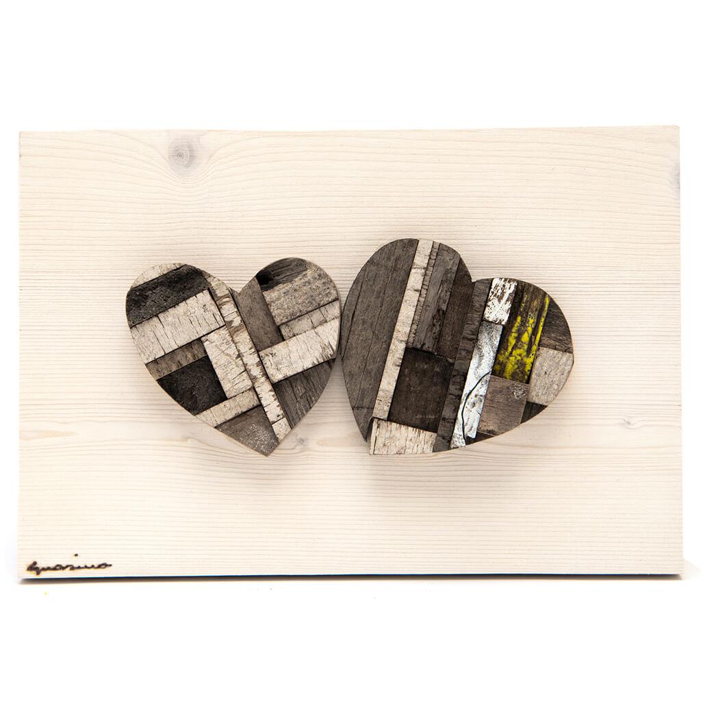Pannelli in legno - Coppia di Cuori Toni del marrone - dimensioni cm 30 x 4 x 20