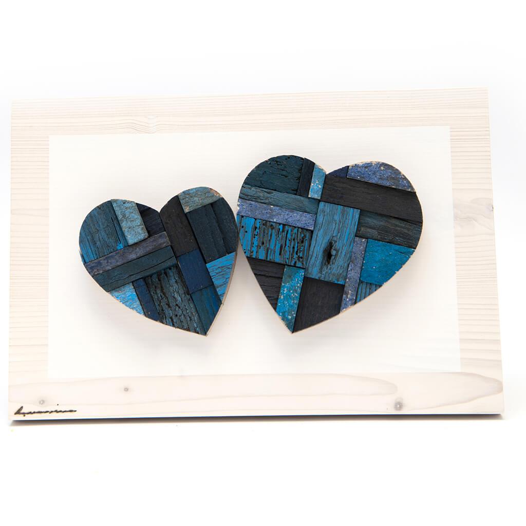 Pannelli in legno - Coppia di Cuori Toni del blu - dimensioni cm 30 x 4 x 20