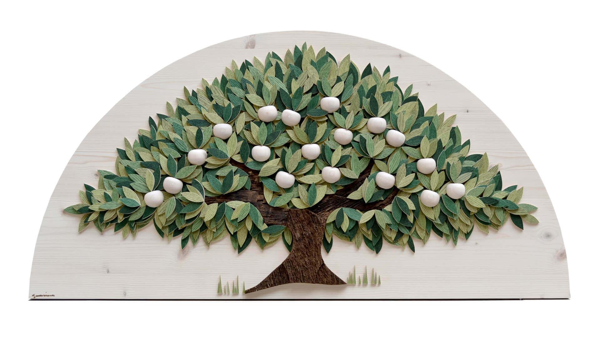 Albero verde con mele bianche - Dimensione media 100 x 6 x 50  cm (b x p x h)