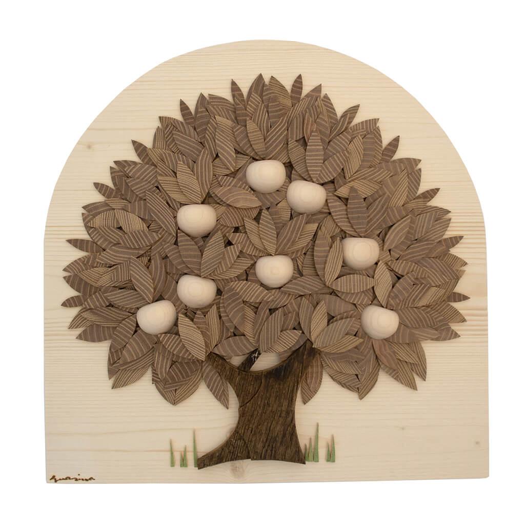 Albero foglie robinia e mele bianche - Dimensione media 40 x 5 x40 cm (b x p x h)