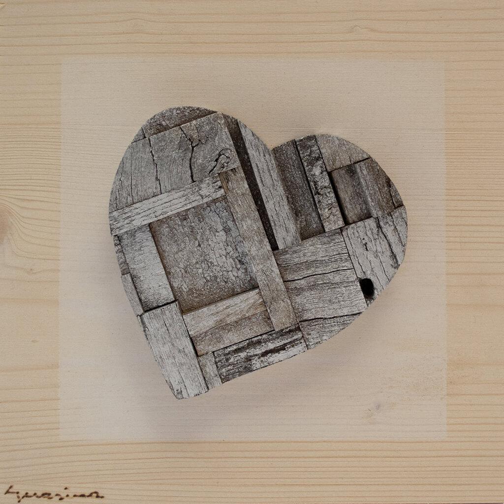 Pannelli in legno - Cuore Argento - disponibile in dimensione cm 20 x 4 x 20 oppure 30 x 4 x 30