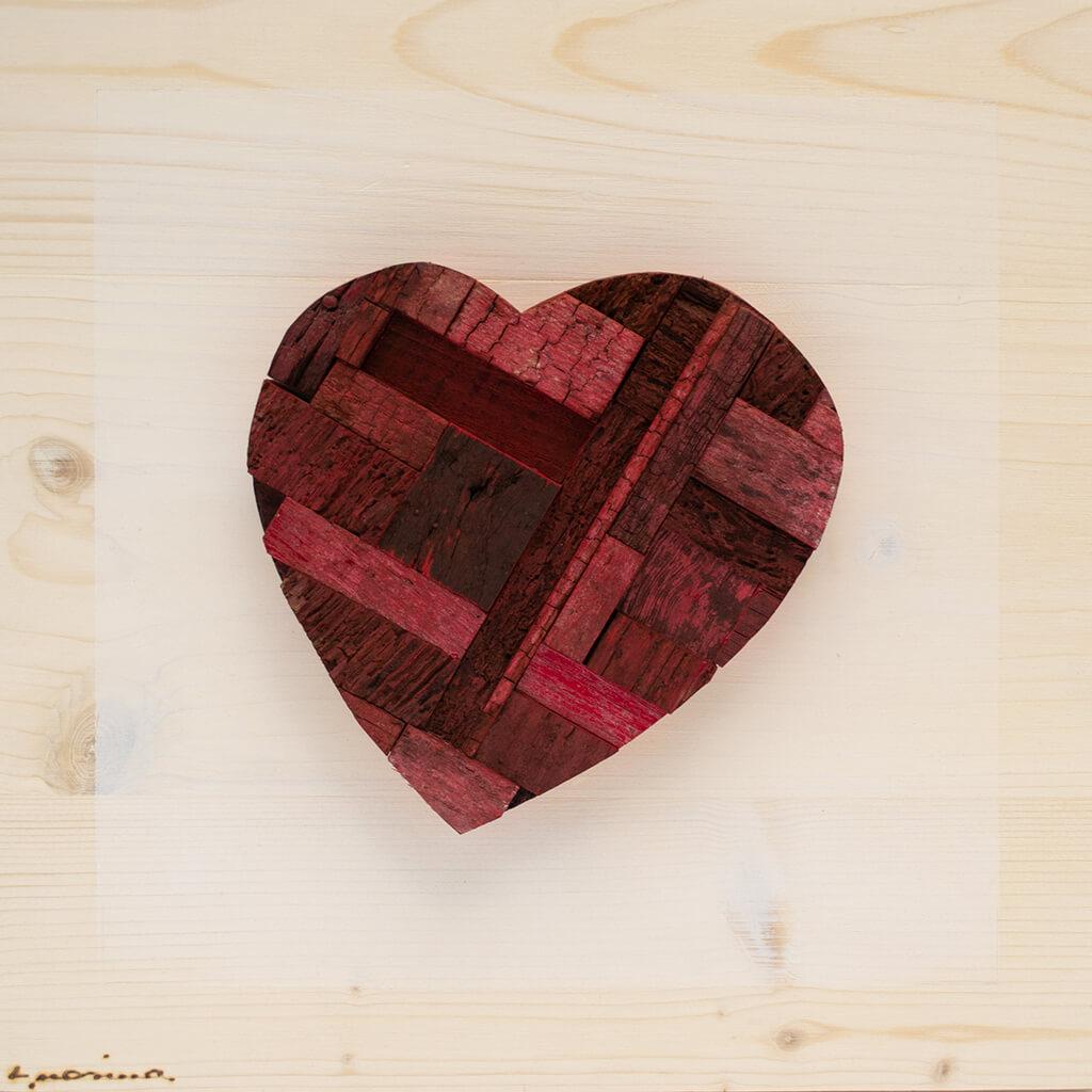 Pannelli in legno - Cuore Rosso Cupo - disponibile in dimensione cm 20 x 4 x 20 oppure 30 x 4 x 30