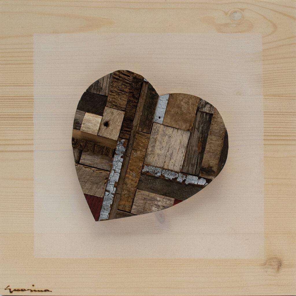 Pannelli in legno - Cuore Marrone - disponibile in dimensione cm 20 x 4 x 20 oppure 30 x 4 x 30