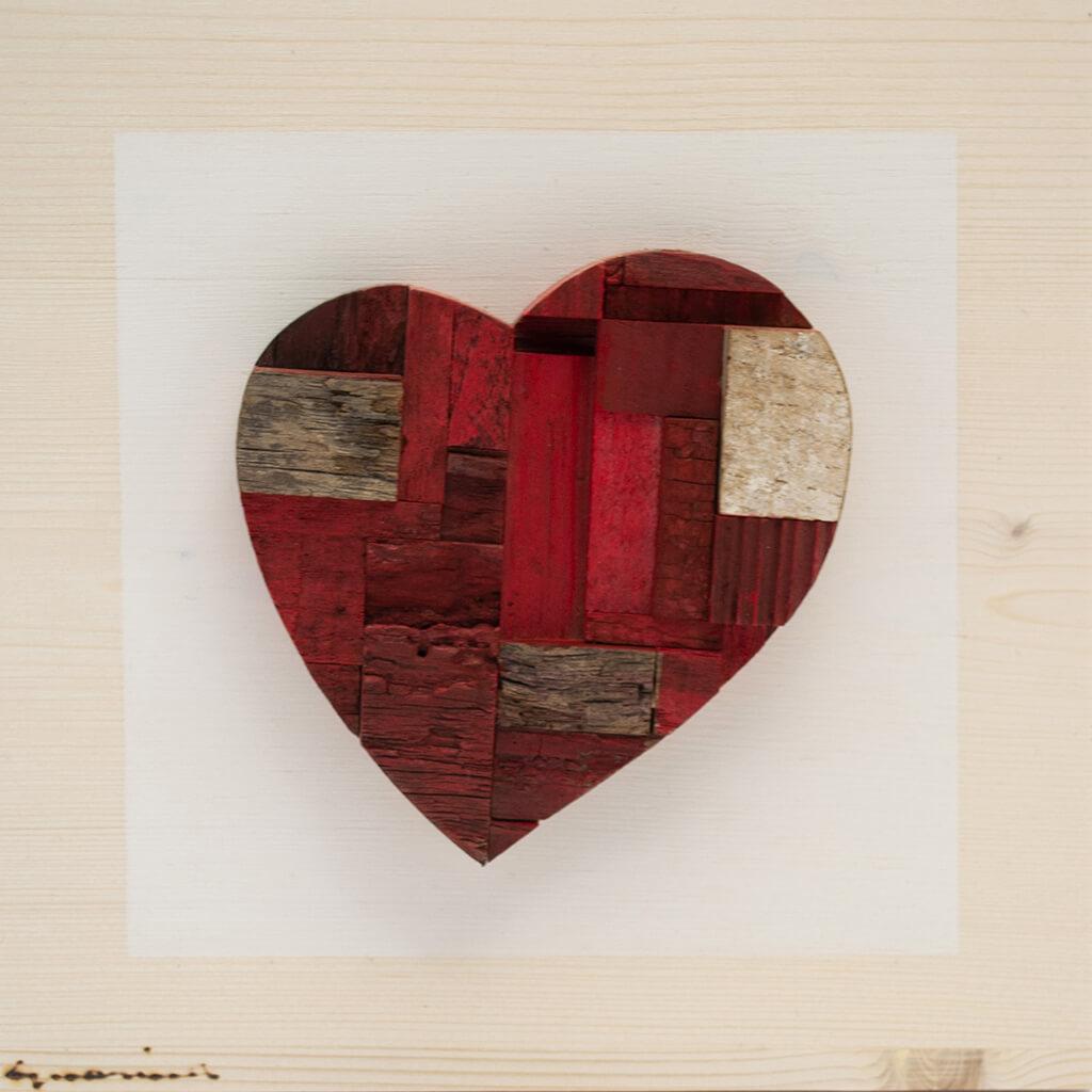 Pannelli in legno - Cuore Rosso - disponibile in dimensione cm 20 x 4 x 20 oppure 30 x 4 x 30