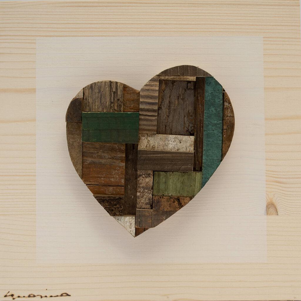 Pannelli in legno - Cuore Verde e Marrone - disponibile in dimensione cm 20 x 4 x 20 oppure 30 x 4 x 30