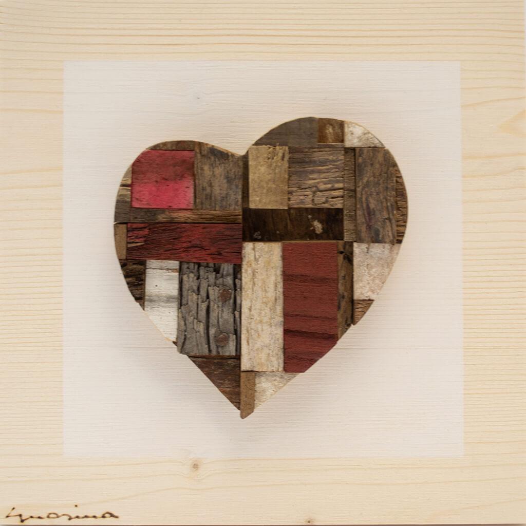 Pannelli in legno - Cuore Patchwork - disponibile in dimensione cm 20 x 4 x 20 oppure 30 x 4 x 30
