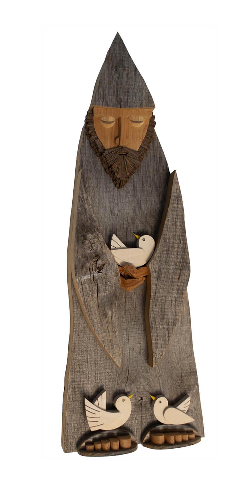 Scultura Guasina in legno - Pannello San Francesco - dimensioni cm. 25 x 10 x 72