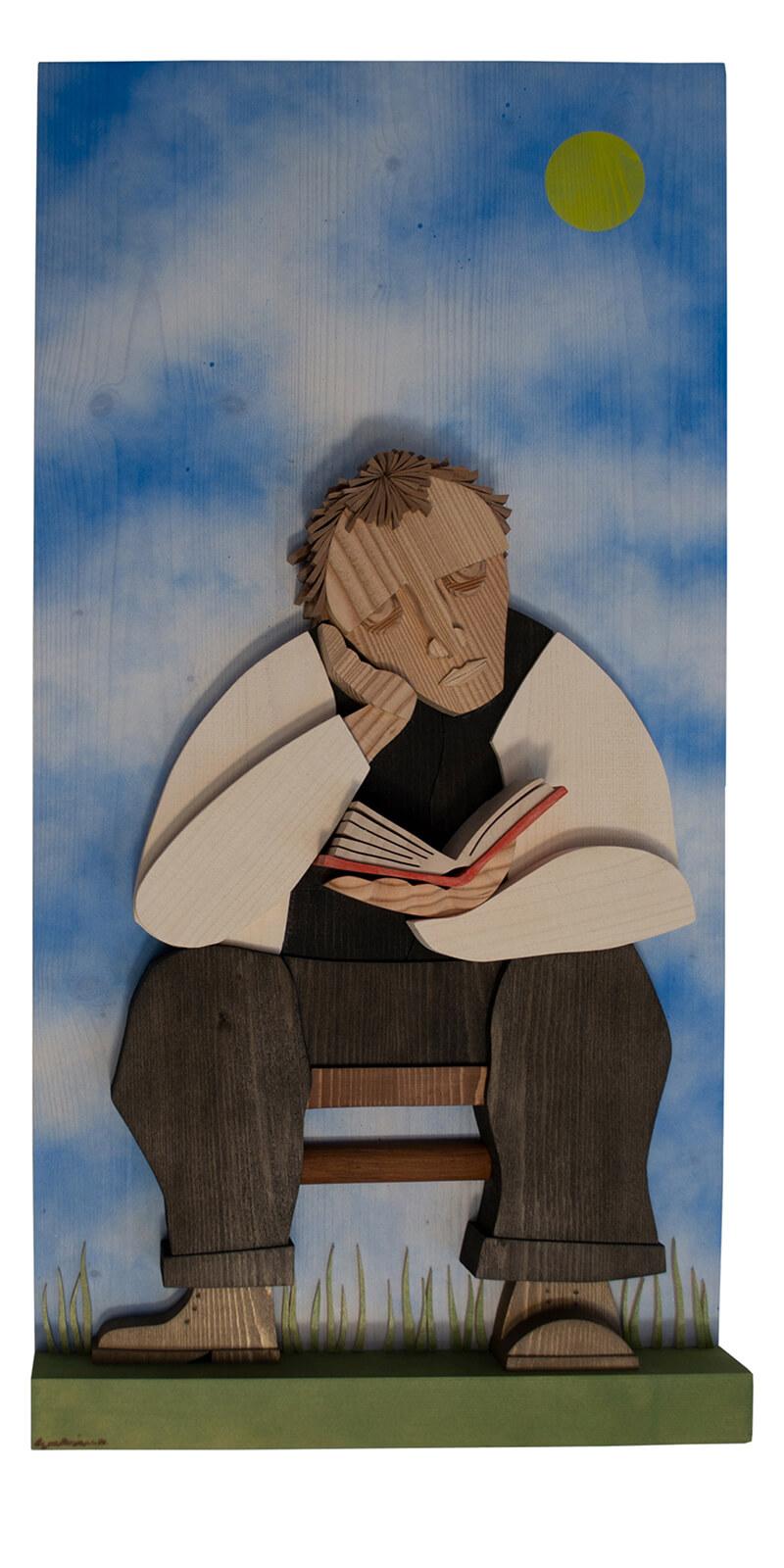 """Scultura Guasina in legno - Pannello """"Il poeta contadino"""" - dimensioni cm. 40 x 9 x 80"""