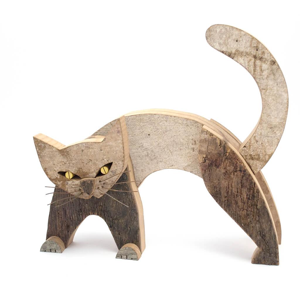 Scultura in legno Gatto - Dimensione media cm. 33 x 14 x 31