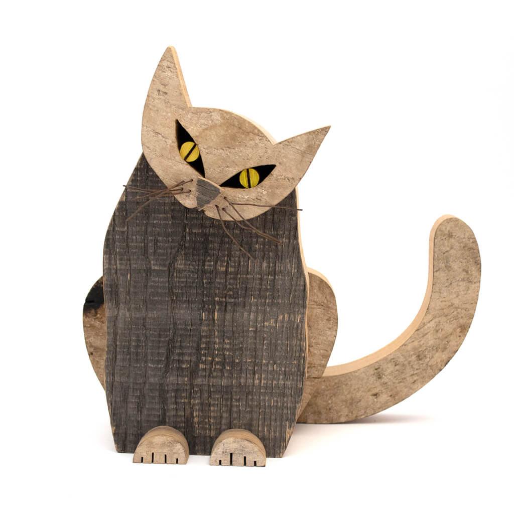 Scultura in legno - Gatto seduto - Dimensione media cm. 30 x 14 x 27