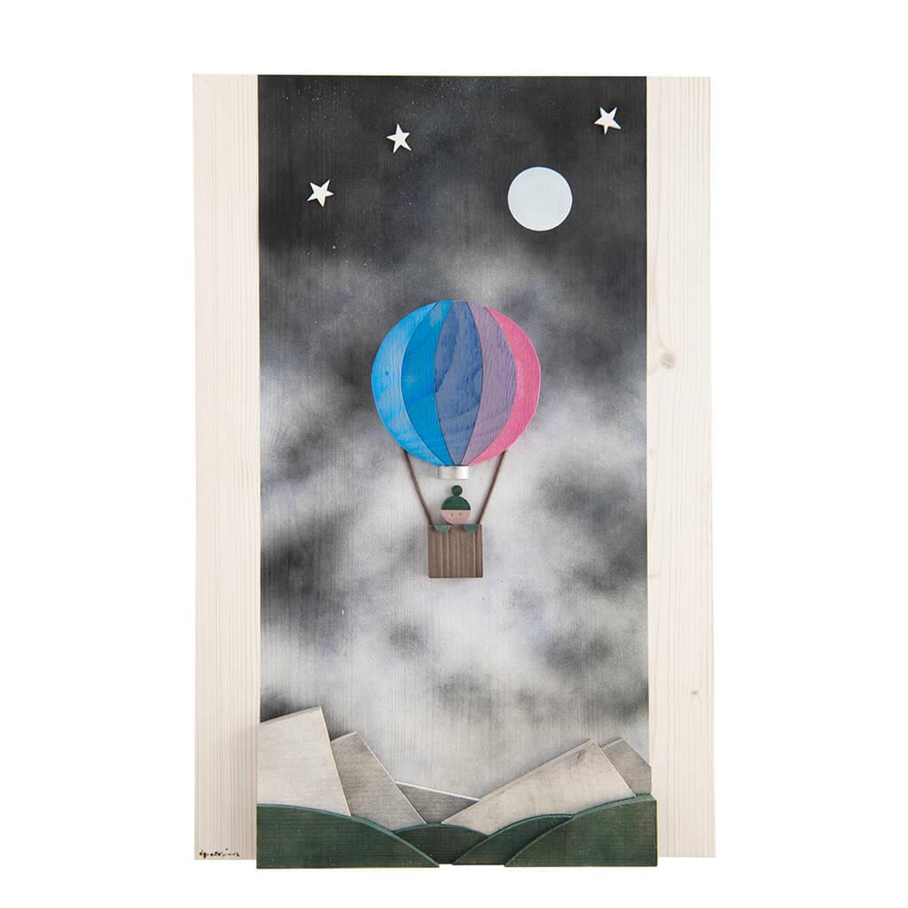 Scultura Guasina in legno - Pannello soggetto Mongolfiera nella notte  - dimensioni cm. 40 x 4 x 60