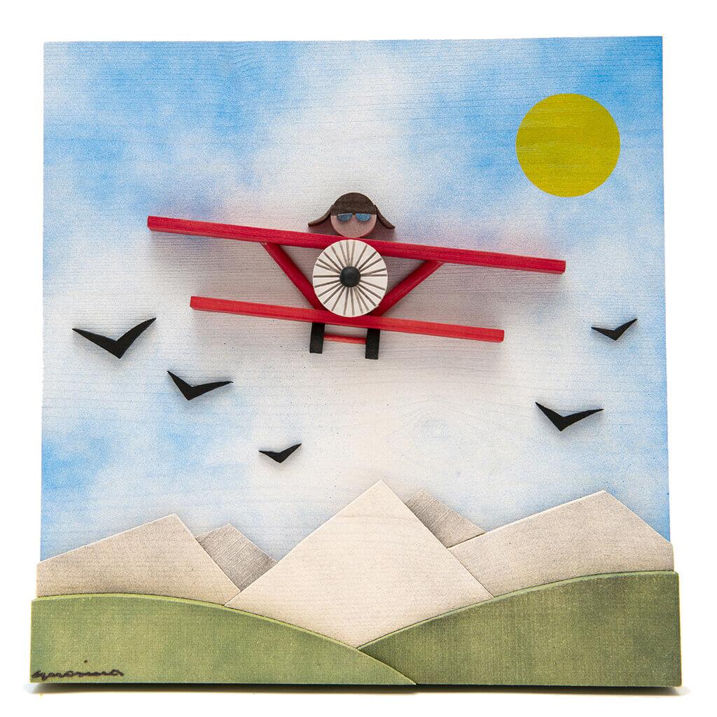 Scultura Guasina in legno - Soggetto Il Barone rosso - dimensioni cm. 30 x 4 x 30